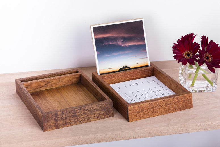 Desk Organiser in 2 natural wood colour tones- golden brown & deep brown - Tasmanian Blackwood - Handmade by The Authentic