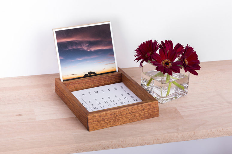 Desk Organiser with Fine Art Prints & Calendar - Tasmanian Blackwood - golden brown - Handmade by The Authentic
