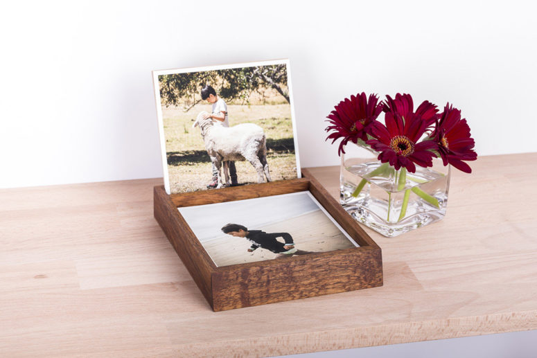 Desk Organiser with Fine Art Prints - Tasmanian Blackwood - deep brown - Handmade by The Authentic