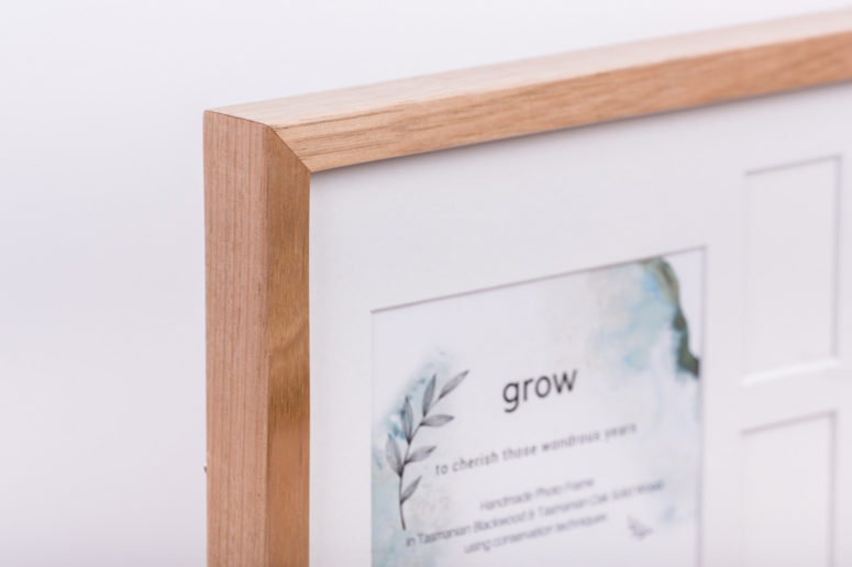 Grow Photo Frame - Tasmanian Oak - S -top corner - Handmade by The Authentic